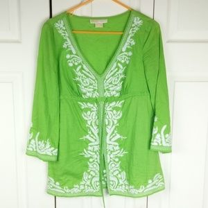 Michael Kors small green white tunic top shirt